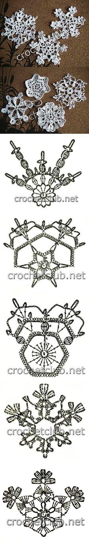 Free crochet snowflake ornament patterns.