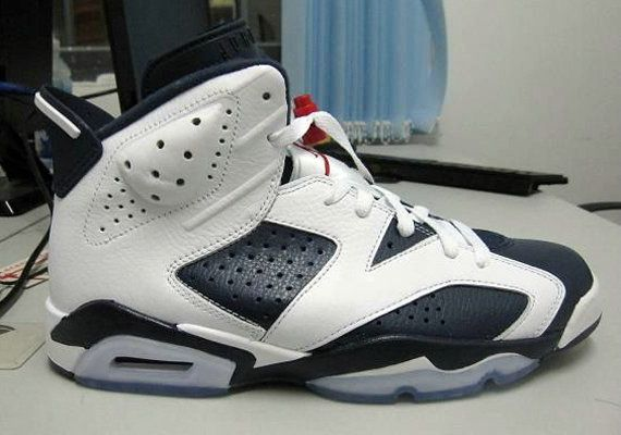 best website a5ae5 120ac Genuine 384664 130 Air Jordan 6 Retro Olympic White Midnight Navy Varsity  Red