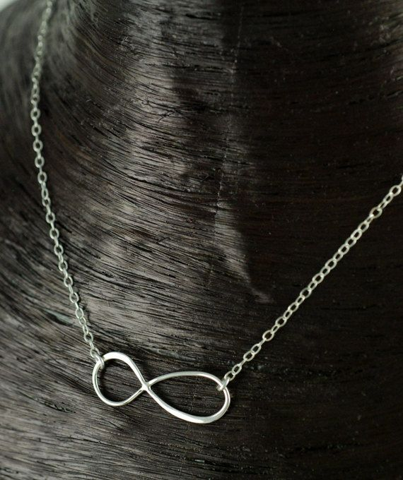 Large Silver Infinity Necklace Silver Infinity Jewelry by AnnieReh, $45.00