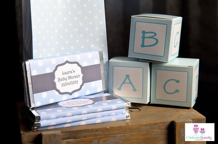 Baby blue polkadot chocolate wrapper.  Personalised, printable design.