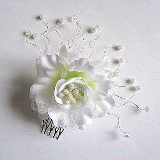 Pieptan mireasa cu organza si perle artificiale - pieptan nunta - accesorii mirese - accesorii femei nunta
