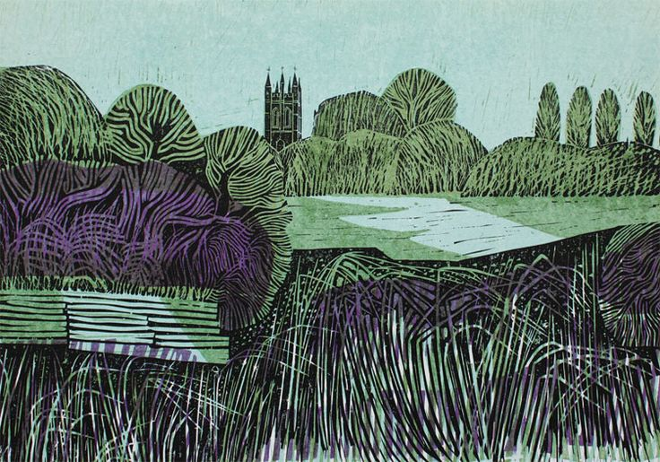 Magdalen from the Cherwell by Robert Tavener
