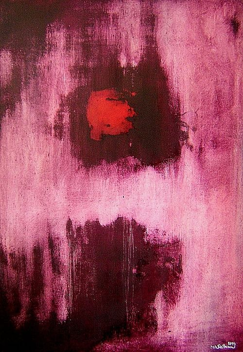 PRUDKÁ REAKCE   VIOLENT REACTIONS - kombinovaná olejomalba na plátno - mixed media oil painting on canvas, 50 x 70 cm