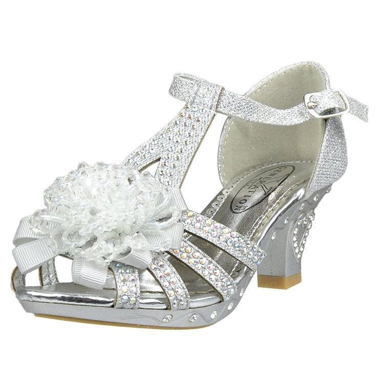 Kids Dress Sandals T-Strap Rhinestone Beaded Glit High Heel Shoes * Don't get left behind, see this great  product : Girls sandals