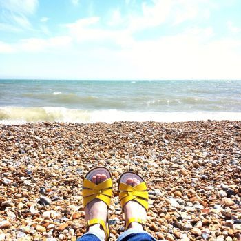 Salt-Water Sandals in Sunshine Yellow are the perfect accessory to wear to the beach!