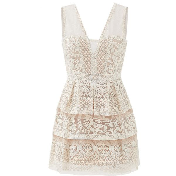 Rental BCBGMAXAZRIA Scarletta Lace Dress ($45) ❤ liked on Polyvore featuring dresses, cream, full skirt, sleeveless dress, lace cocktail dress, v neck dress and cream cocktail dress