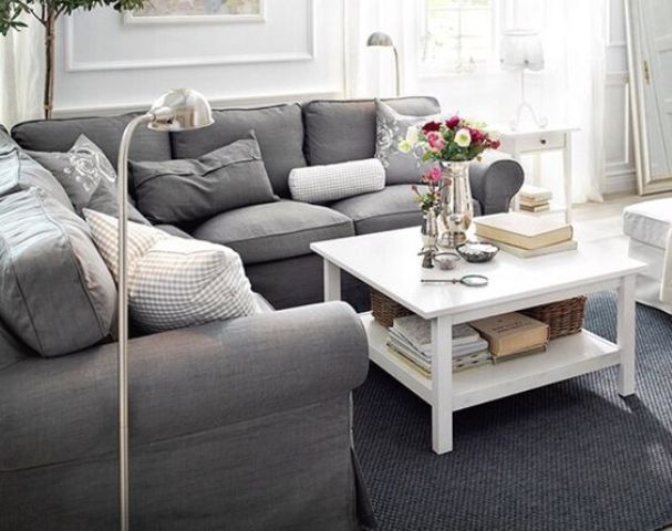 Grey IKEA Ektorp Sofa For A Modern Living Room
