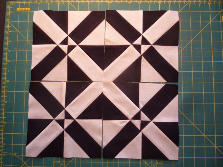 D4P Variation: A variation on the Disappearing 4-Patch block. Fifth step is to sew trimmed blocks together.