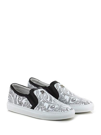 JOHN RICHMOND - Sneakers - Uomo - Sneaker in pelle stampata con inserti elasticizzati su ambo i lati e suola in gomma. Tacco 30. - WHITE\BLACK - € 265.00