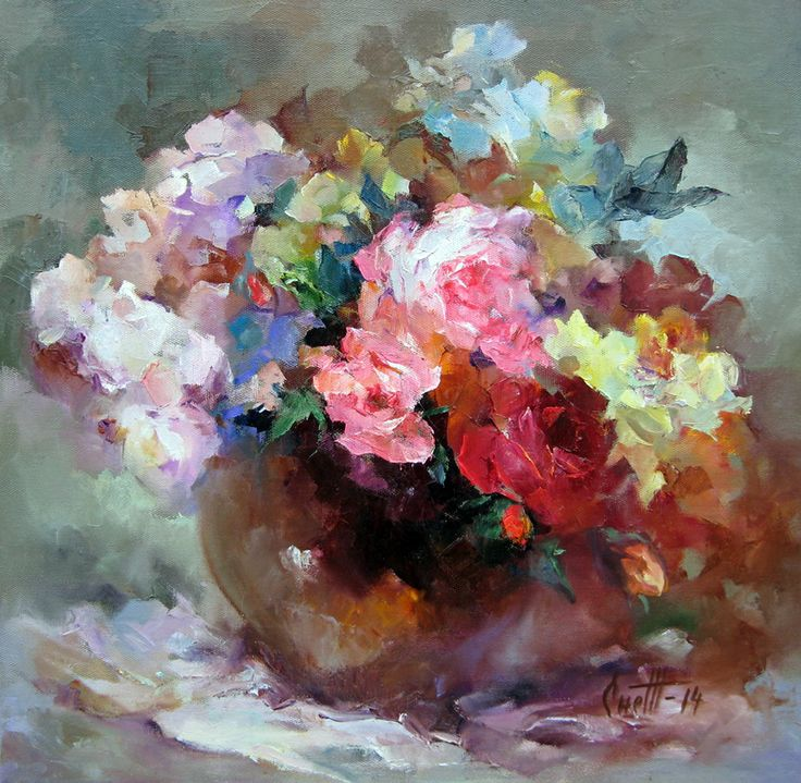 "Снежанская Жанна,  ""Розы"", холст, масло, 60x60 см, 2014 www.art-helicon.ru"