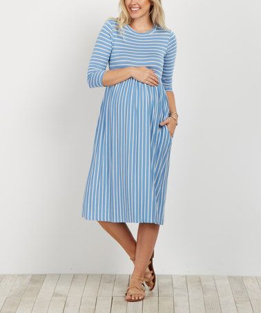 This PinkBlush Blue Stripe Three-Quarter Sleeve Maternity Dress is perfect! #zulilyfinds