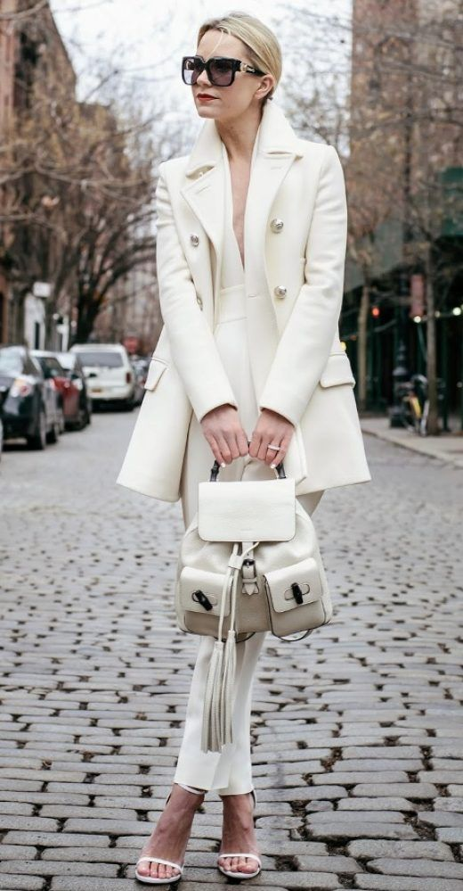 winter white outfit with backpack