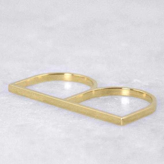 In Line Ring Double finger ring Statement Ring by ANMAjewellery