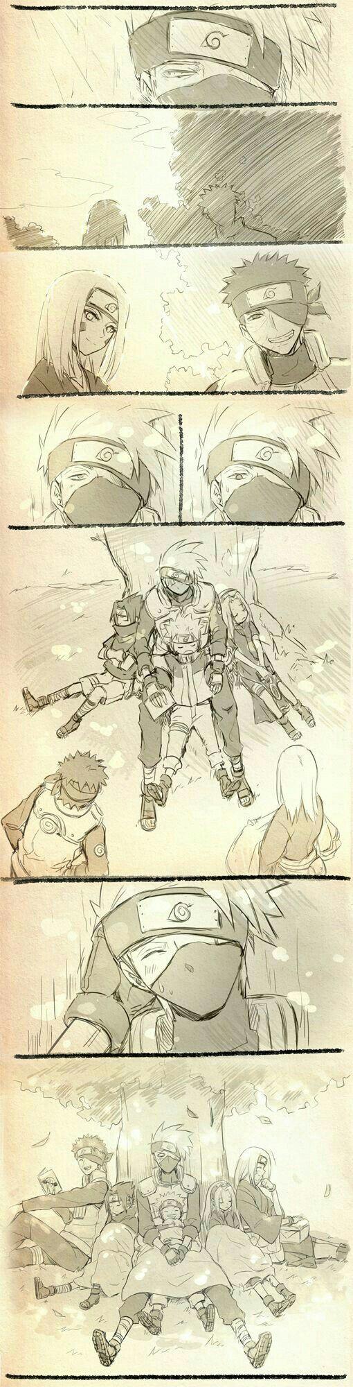 Team Minato, Kakashi, Obito, Rin, Team 7, Naruto, Sasuke, Sakura, sleeping, tree, cute, comic; Naruto