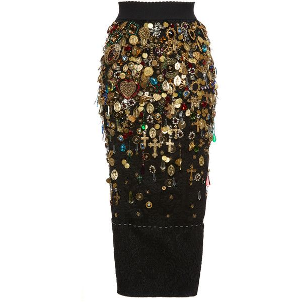 Dolce & Gabbana     Fitted Charm and Jewel Embellished Skirt found on Polyvore featuring skirts, dolce & gabbana, black, scallop hem skirt, stretch skirts, fitted skirts, scalloped skirt and embellished skirt