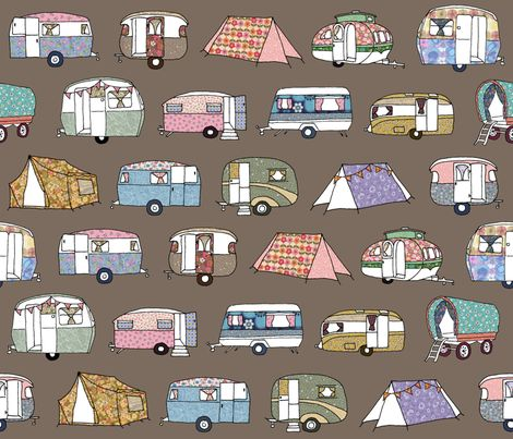retro camping images | Vintage_Camping_FQbrown fabric by peppermintpatty on Spoonflower ...