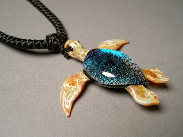 Glass hand-made Sea Turtle Pendant Necklace focal by Glassnfire