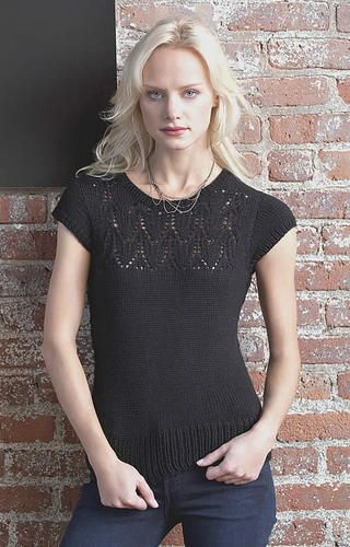 Free knitting pattern for lace front sweater Hotness Top | Free knitting patterns for tops, tees, and tanks