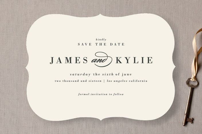 """""""Classically Stated"""" - Classical, Elegant Save The Date Cards in Charcoal by roxy."""