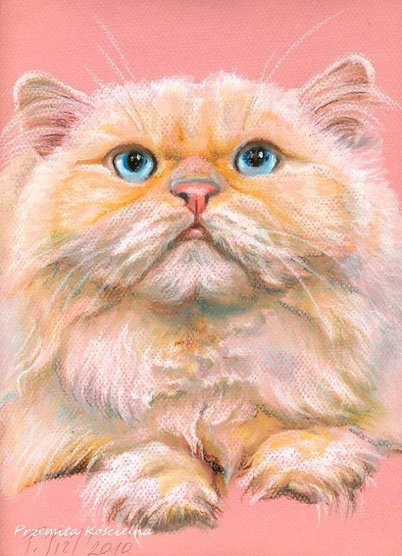Custom pet portrait cat dog Pastel drawing from by CanisArtStudio