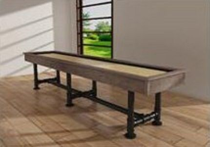 Rustic Industrial 12-foot Shuffleboard Table Black steel pipe legs, free shipping and everything your adults or kids need to play. includes picks and wax.