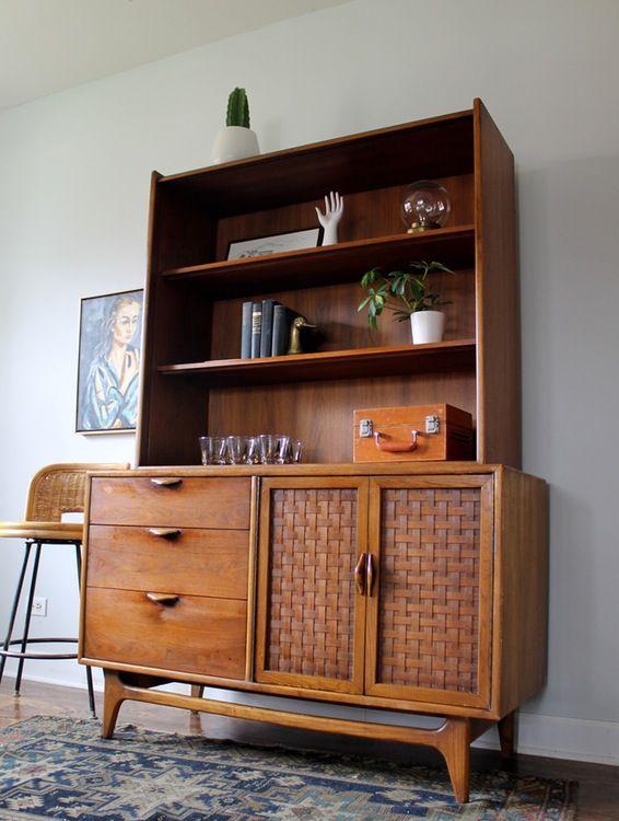 Mid Century Modern Lane Cabinet Bookcase Credenza Mid Century