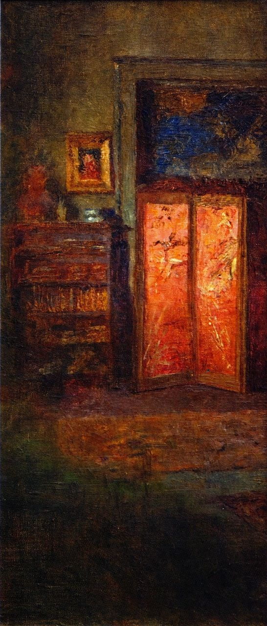 The Red Screen (some descriptions have this spelled as Screne) - Frederick McCubbin - circa 1914
