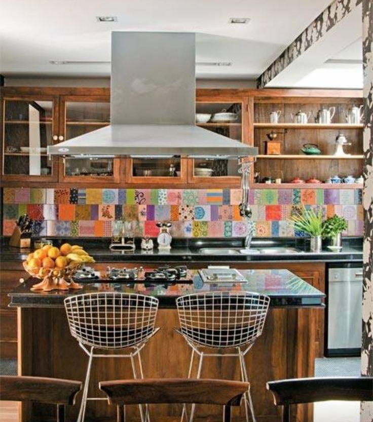 Kitchen, colorful tile backsplash