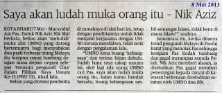 KOTA BHARU - Mursyidul Am Pas, Datuk Nik Aziz Nik Mat berkata, beliau akan 'meludah' muka ahli UMNO yang datang bertemunya bagi menyatukan dua parti terbesar orang Melayu itu biarpun ramai bimbang dengan masa depan negara selepas 'tsunami pengundi Cina' dalam Pilihan Raya Umum Ke-13 (PRU-13), Ahad l