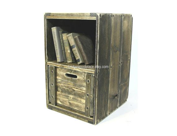 239 best dial f for furniture images on pinterest for Wooden crate bedside table