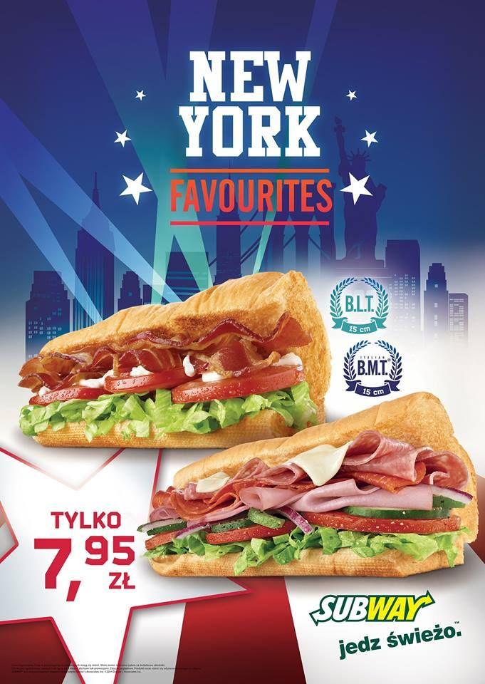 Nowy Jork w zasięgu ręki! Intensywne doznania w SUBWAY® Co wspólnego mają sandwicze serwowane w restauracjach SUBWAY® z Nowym Jorkiem? W nowej promocji NEW YORK FAVOURITES główną rolę grają soczyście mięsne suby: Italian B.M.T.®, którego nazwa przywołuje jedną z najsłynniejszych tras metra Wielkiego Jabłka, i B.L.T. Amatorzy smaków Nowego Jorku mogą teraz skosztować ich w obniżonej cenie: 7,95 zł za suba 15 cm. Promocja potrwa do 15 marca br.