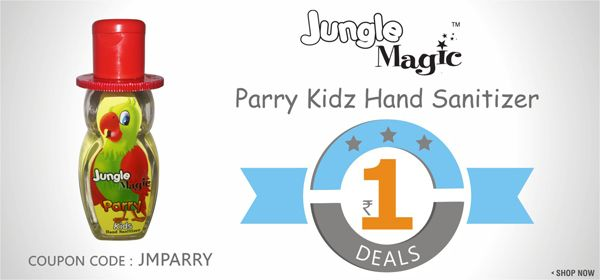 Buy Jungle Magic Parry Hand Sanitizer for Kids online @ SafetyKart just @ Rs. 1.  Visit : https://www.safetykart.com/child-care/652-jungle-magic-parry-hand-sanitizer-for-kids.html Use Coupon Code : JMPARRY Valid Till : 15-Jan-2015
