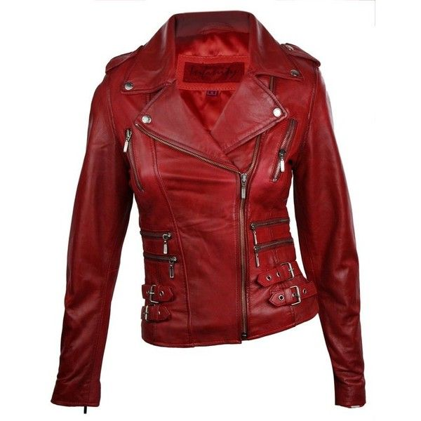 100% Ladies Real Leather Jacket Short Fitted Bikers Style Retro Red... ❤ liked on Polyvore