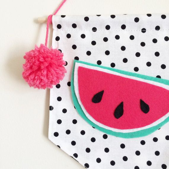 Home Decor Juicy Watermelon on Black and White Dots by Cyandegre