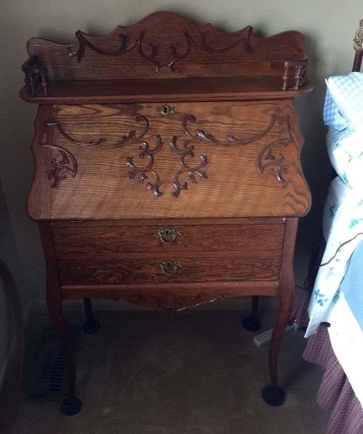 Antique Oak, Slant Front, Ladies Writing Desk Secretary Ornate