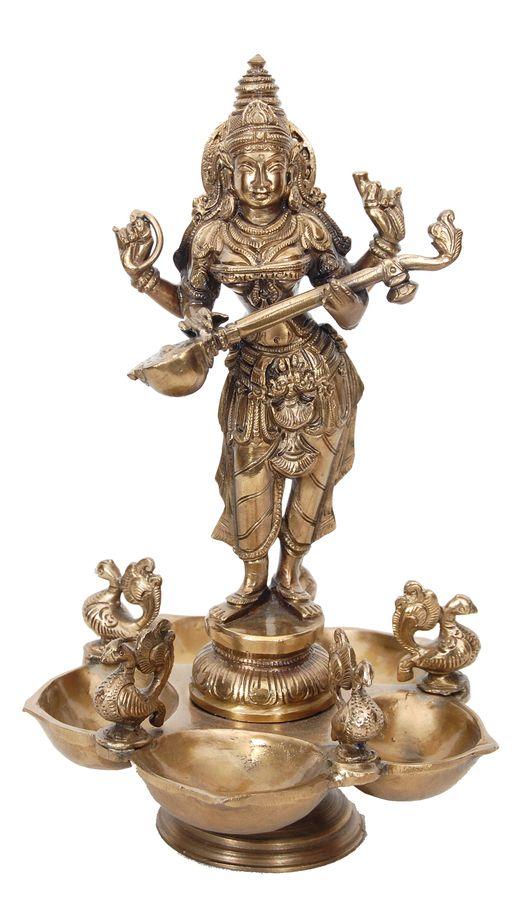 Saraswati Deepa (lamp) [9878] - saraswati, bronze statues, Indian Handicrafts, Indian Handicrafts Online