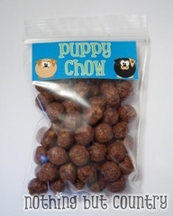 @Valerie Avlo LeBeau - This would be a super cute favor at Nolan's Birthday Party! Not to mention, a fun girls night of making puppy chow too ;)