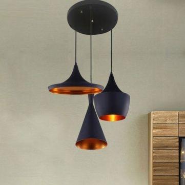 Pendant Beat Copper Shade Black/White Instrument Light 110-220V - US$95.03