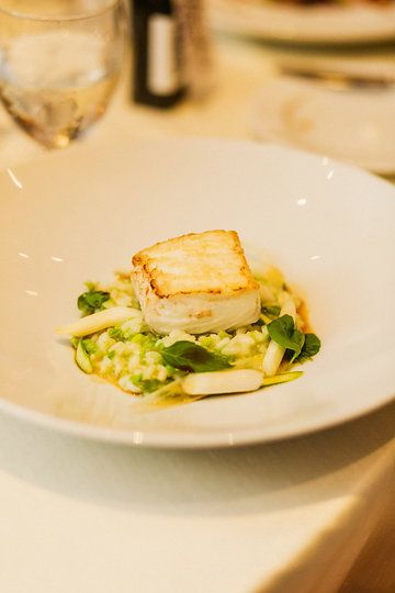 Roasted Hecate Strait Halibut | butter poached asparagus, 7 year aged Acquerello risotto |