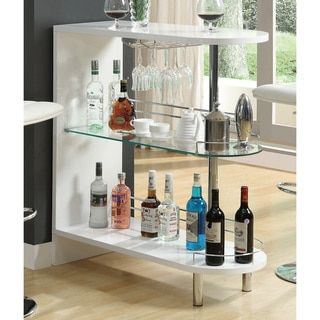 White Metal and Glass Bar Table - 19064528 - Overstock.com Shopping - Big Discounts on Coaster Bar Tables
