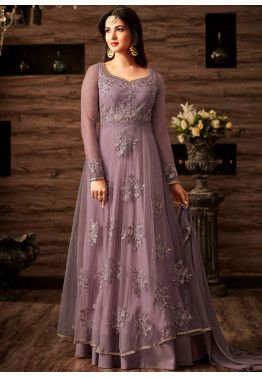 9d6a5b9111c34 Sonal Chauhan Lavender Purple Twin Layered Net Suit   Dresses in ...