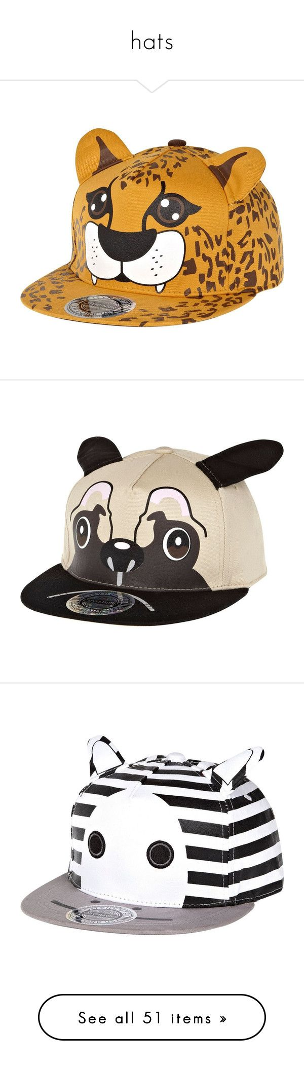 """""""hats"""" by poison-kisses ❤ liked on Polyvore featuring accessories, hats, headwear, sale, orange trucker hat, cheetah hat, trucker hat, cheetah print trucker hat, truck caps and brown hat"""
