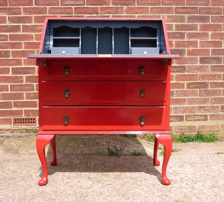 SALE ITEM: Vintage Hand Painted Victorian Style Writing Bureau in Hi-Gloss Red. £200.00, via Etsy.