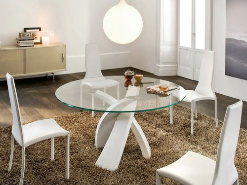 110 best images about glass tops on pinterest table bases tempered glass t - Table ronde avec pouf ...