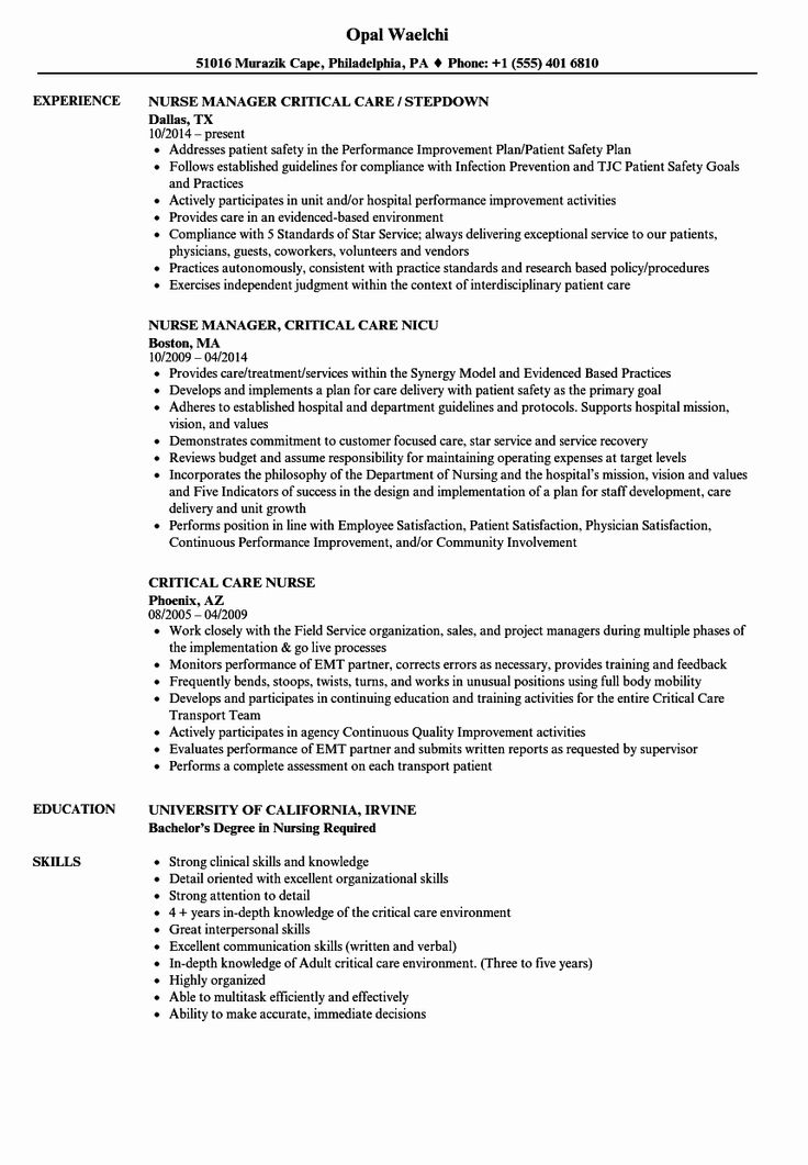 Critical Care Rn Resume Lovely Critical Care Nurse Resume