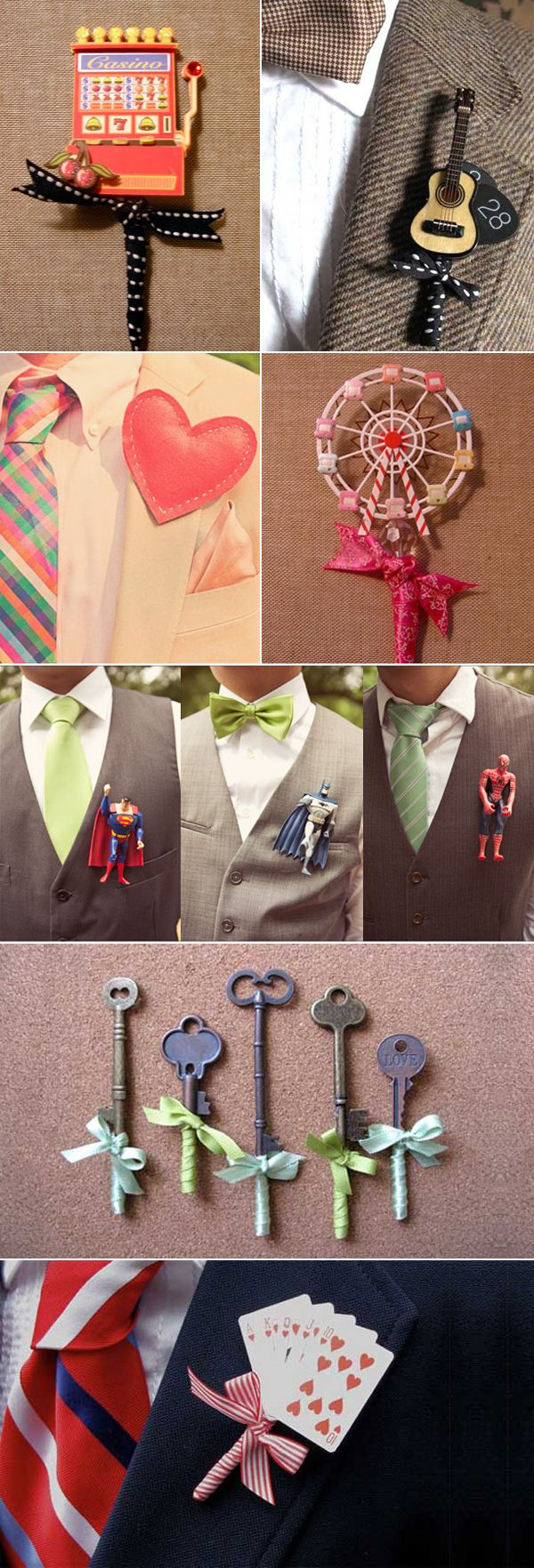 unique boutonniere ideas   Credits (from top left): Drinking Stars / Fritts Rosenow / Sweet ...