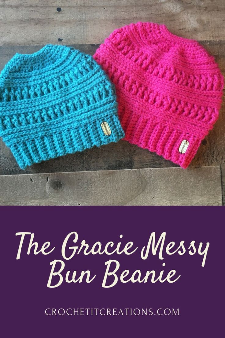 The Gracie Messy Bun Beanie Crochet Pattern by Crochet It Creations will be one of your favorite hats to keep you warm this winter. It is the sister hat to The Ana Beanie.