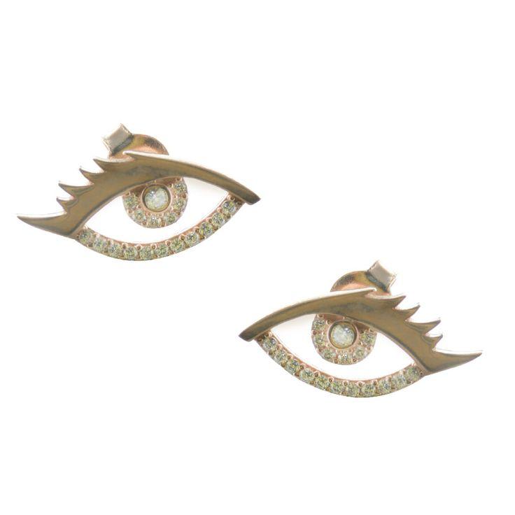 Σκουλαρίκια μάτι από ρόζ επιχρυσωμένο ασήμι με πέτρες ζιργκόν | Για αγορά πατήστε πάνω στην εικόνα