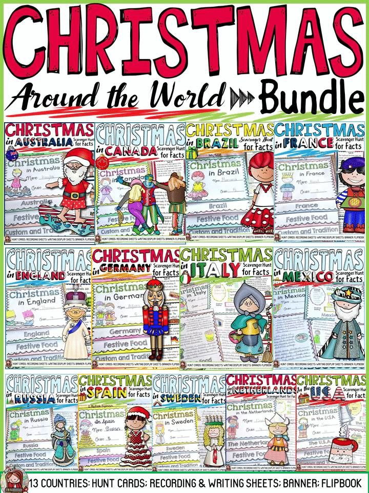 Wouldn't your students love to know how Christmas is celebrated all over the world? Well, this Christmas Around the World bundle could be just the answer. What with all the Scavenger Hunts for facts, poster design templates and flipbook sheets to record information, learning couldn't be more fun! https://www.teacherspayteachers.com/Product/CHRISTMAS-AROUND-THE-WORLD-2236023