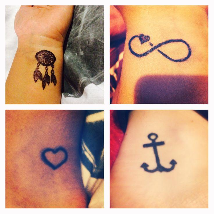 Temporary tattoos! Sharpie pen, baby powder and hairspray! #tattoo #temporarytattoo #anchortattoo #dreamcatchertattoo #hearttattoo #infinitytattoo #girlytattoo